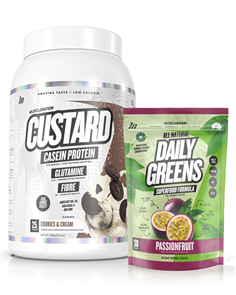 MUSCLE NATION CUSTARD CASEIN PROTEIN & DAILY GREENS COMBO